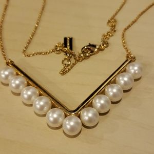 Baublebar gold toned pearl V necklace